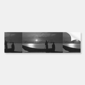 Sunset Boat Art Template easy add TEXT Greeting 99 Car Bumper Sticker