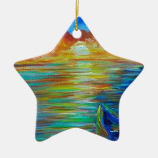 Sunset boat over lake impressionism ceramic ornament