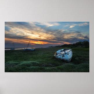 Sunset boat print