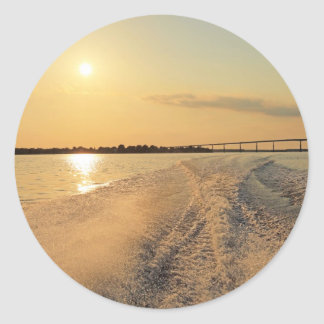 Sunset Boat Ride Classic Round Sticker
