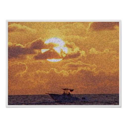 Sunset boat ride poster