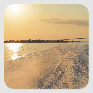 Sunset Boat Ride Square Sticker