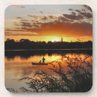Sunset Boating Couple Coaster Set