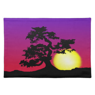 Sunset Bonsai Silhouette Placemat