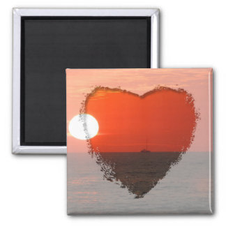Sunset Booze Cruise 2 Inch Square Magnet