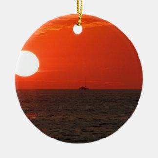 Sunset Booze Cruise Ceramic Ornament
