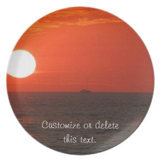 Sunset Booze Cruise; Customizable Plate