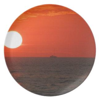 Sunset Booze Cruise Melamine Plate