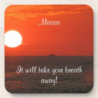 Sunset Booze Cruise; Mexico Souvenir Beverage Coaster