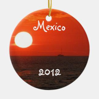 Sunset Booze Cruise; Mexico Souvenir Ceramic Ornament