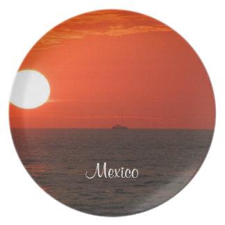 Sunset Booze Cruise; Mexico Souvenir Plate