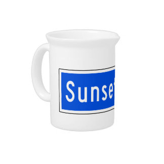 Sunset Boulevard, Los Angeles, CA Street Sign Drink Pitcher