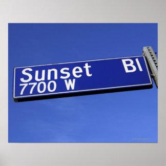 Sunset Boulevard sign against a blue sky