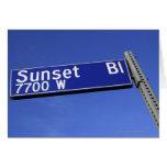 Sunset Boulevard sign against a blue sky Card