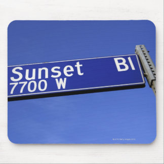 Sunset Boulevard sign against a blue sky Mouse Pad