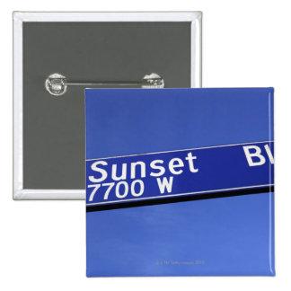 Sunset Boulevard sign against a blue sky Pinback Button