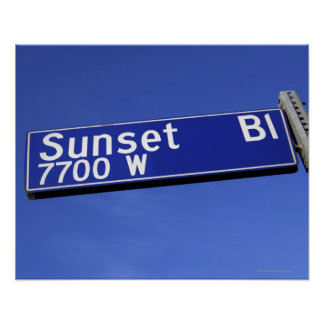 Sunset Boulevard sign against a blue sky Posters