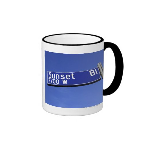Sunset Boulevard sign against a blue sky Ringer Mug