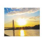 sunset bridge stretched canvas print