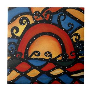 Sunset Bright Ceramic Tile From Original Painting Tiles