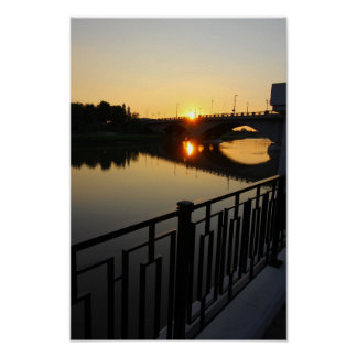 Sunset, Broad Street Bridge, Columbus, OH Poster