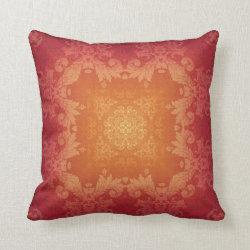Sunset Brocade Kaleidoscope Design Throw Pillow