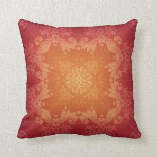 Sunset Brocade Kaleidoscope Design Throw Pillow