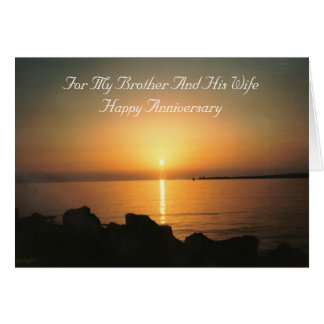 Sunset Brother And Wife Wedding Anniversary Card