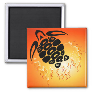 Sunset-Bubble-Turtle 2 Inch Square Magnet