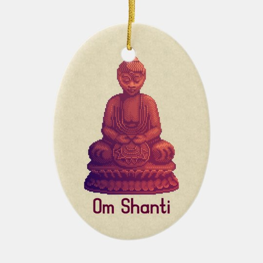 Sunset Buddha Pixel Art Ceramic Ornament