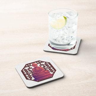 Sunset Buddha Pixel Art Drink Coaster