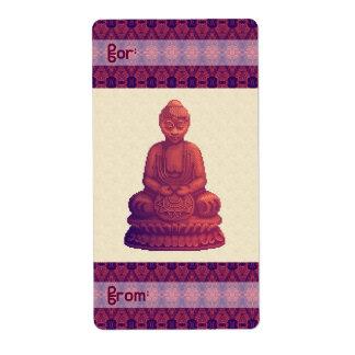 Sunset Buddha Pixel Art Label
