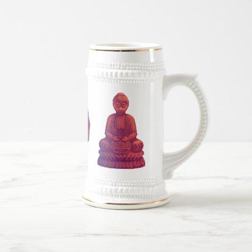 Sunset Buddha Pixel Art Mugs