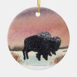 Sunset Buffalo Christmas Ornaments