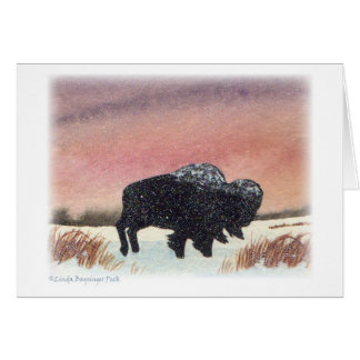 Sunset Buffalo Watercolor Painting Card