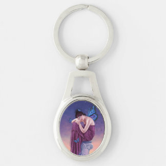 Sunset Butterfly Fairy Oval Keychain