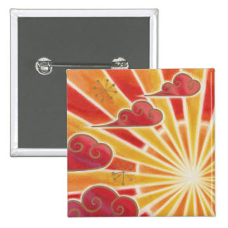 Sunset button badge square
