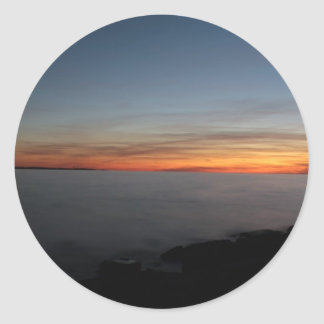 sunset by lake, Kingston, Ontario, Canada Classic Round Sticker