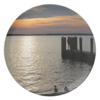 Sunset by the Dock with Ducks Party Plate