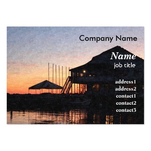 sunset by the lake waterfront with deck buildings large business card