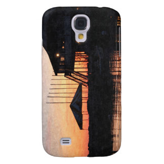 sunset by the lake waterfront with deck buildings samsung galaxy s4 case