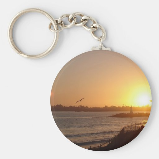Sunset by the lighthouse basic round button keychain