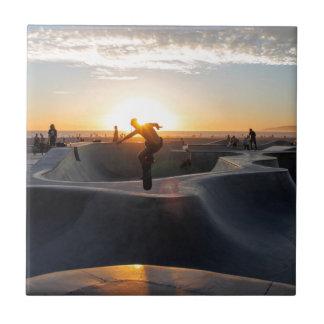 Sunset California Dreams Skateboard Park Freestyle Ceramic Tile