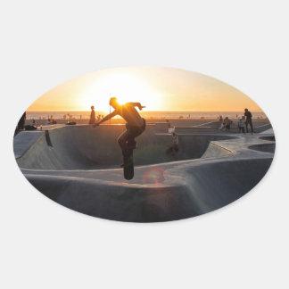 Sunset California Dreams Skateboard Park Freestyle Oval Sticker