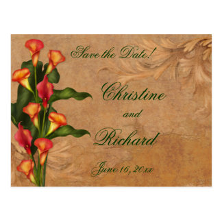 Sunset Calla Lilies Save the Date Postcard