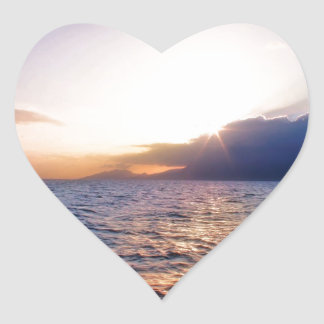 Sunset Caribbean Coast Heart Sticker