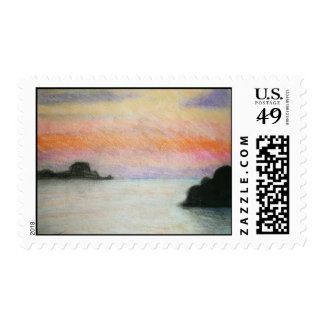 Sunset Charcoal Drawing Postage Stamp