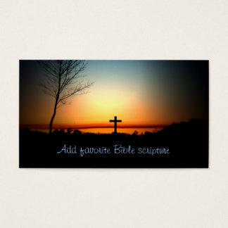 Sunset Christian Cross Business Card