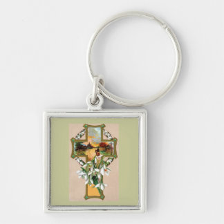 Sunset Christian Cross Silver-Colored Square Keychain