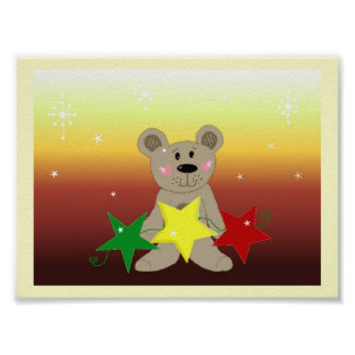Sunset Christmas Bear with Stars Poster